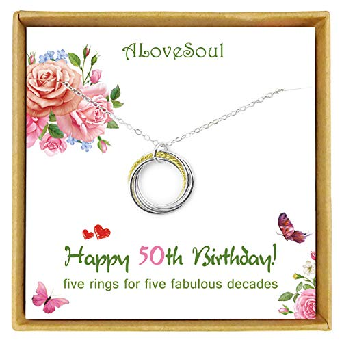 ALoveSoul 50th Birthday Gifts for Women - 925 Sterling Silver Five Circle intertwined Necklace for...