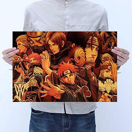zhongjiany TIE LER Estilo de Dibujos Animados Vintage Anime Naruto Poster Bar Para Niños Habitación Decoración para el Hogar Libros de Cómics Naruto Retro Papel Kraft Pintura 50.5x35 cm(Style04)
