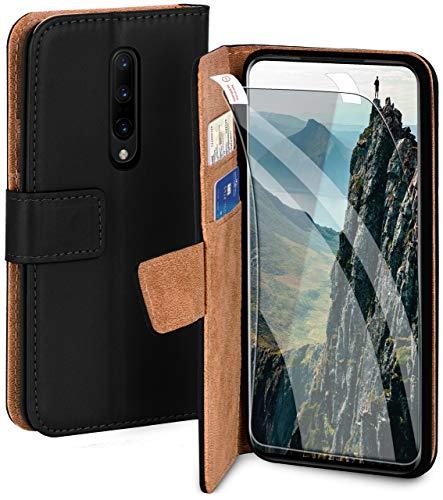 moex Handyhülle für OnePlus 7 Pro - Hülle mit Kartenfach, Geldfach & Ständer, Klapphülle, PU Leder Book Hülle & Schutzfolie - Schwarz
