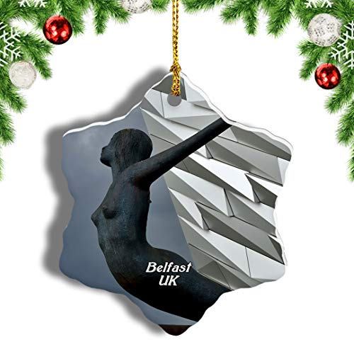 Weekino UK England Titanic Belfast Belfast Christmas Ornament Travel Souvenir Tree Hanging Pendant Decoration Porcelain 575' Double Sided