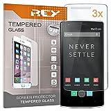 REY Pack 3X Pellicola salvaschermo per ONEPLUS One/One Plus One, Pellicole salvaschermo Vetro Temperato 9H+, di qualità Premium