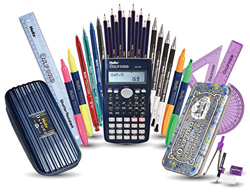 Helix Oxford Complete Back to School Stationery Set (Assorted Colours Maths Set)