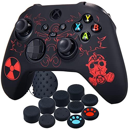 YoRHa Silikon Laserschnitzen Drucken Hülle Skin Case für Xbox Series X / S Controller (Strahlung Rot) x 1 mit Aufsätze Kappen x 10