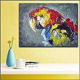 zhuziji DIY Pintar por números Impresión a Gran Escala Mural Abstracto Guacamayo decoración del hogar Sala Moderna Lienzo impresión pintura40x55cm(Sin Marco)