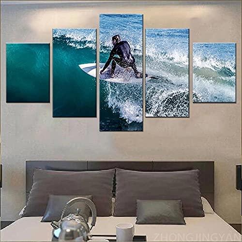 QWASD Paisaje De Surf 5 Piezas Pintura sobre Lienzo Moderna Pintura Impresión del Hogar Sala Estar Dormitorio Cuadro sobre Lienzo Regalo Carteles