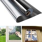 RMane Lámina de espejo autoadhesiva para ventana, protección solar, opaca, aislamiento térmico,...