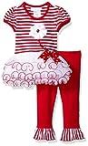 Bonnie Baby Girls' Appliqued Tutu Skirt Dress and Legging Set, Red, 3-6 Months
