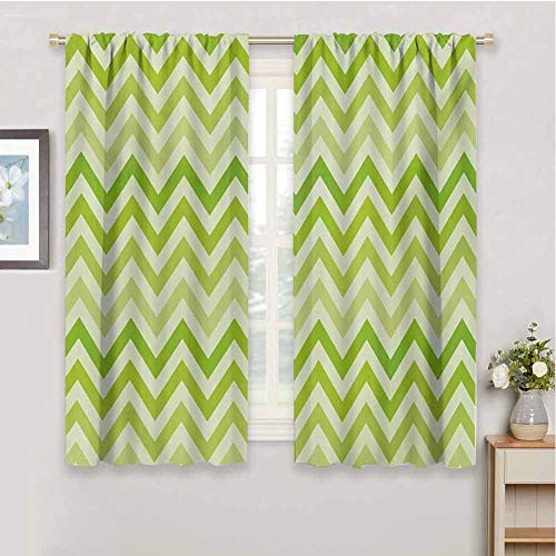 Lime Green Shading Insulated Curtain Chevron Traditional Zig Zag Pattern with Symmetric Lines Tribal Modern Pattern Soundproof Shade W54 x L63 Inch Pale Green