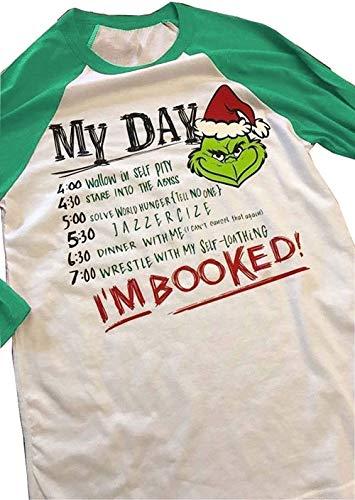 Top Take Damen Baseball-T-Shirt mit Aufschrift I'm Booked, mit englischem Text - Grün - Klein