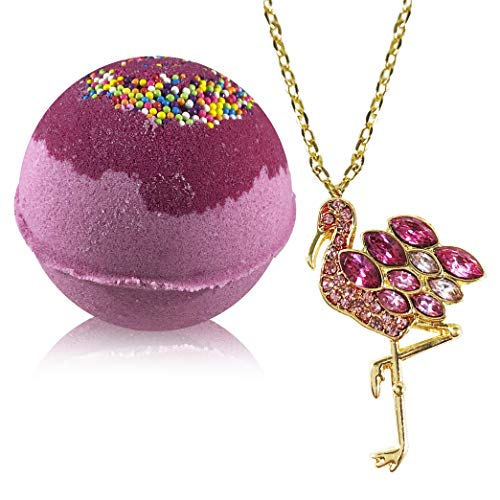 Bath Bombs Jewelry with Necklace Flamingo Inside - Fizzy and Bubble Organic Bathbomb in Gift Box for Women Girls Her Mother Girlfriend