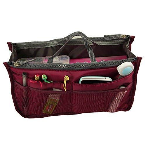 yihengya Yihya Donne Travel Organizer Bag Viaggiare Organizzatore Sacchetto Borsa Pouch con Doppia Zip Fodera Inserire Tasche Multiple Tidy Cosmetici Pouch Borsa - (Vino rosso)