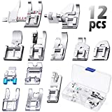 12 Pieces Sewing Machine Presser Foot Set Snap On Sewing Machine Spare Parts Accessories Multifunctional Sewing Foot Presser for Low Shank Sewing Machine, Compatible with Brother Singer Janome Toyota