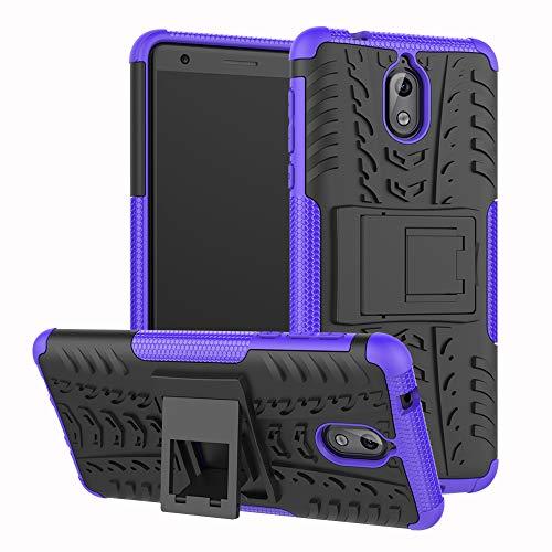 Labanema Nokia 3.1 Funda, [Heavy Duty] [Doble Capa] [Protección Pesada] Híbrida Resistente Case Protectora y Robusta para Nokia 3.1 2018 (con 4 en 1 Regalo empaquetado) - Morado