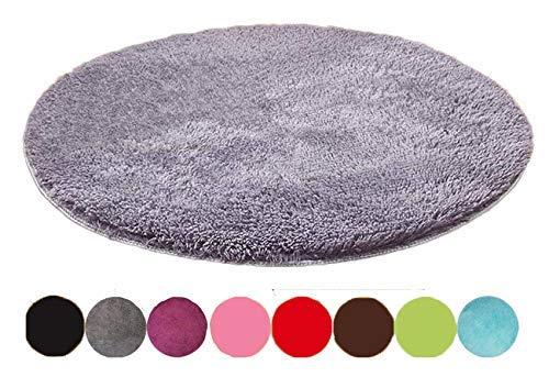 Emorias Runder Teppich, Shaggy-Stil, schöne Dekoration für Schlafzimmer und Wohnzimmer, weich, 1Stück 60 cm Grau L