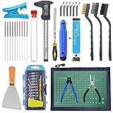 HAWKUNG 42 Pcs 3D Impresora Herramientas Kit, Cuchillo desbarbado, Calibrador Digital y Otras Accesorios con Bolsa de Almacenamiento para la Eliminación, Limpieza y Acabado de Modelos de Impresión 3D