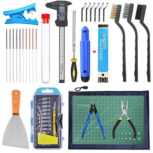 HAWKUNG 42 Pcs 3D Printer Tool Kit, Debur Tool, Cleaning and Removal Tool, Digital Caliper, Cutting Mat and Other Basic Tools with Storage Bag for 3D Printing Model Removing, Cleaning, Finishing