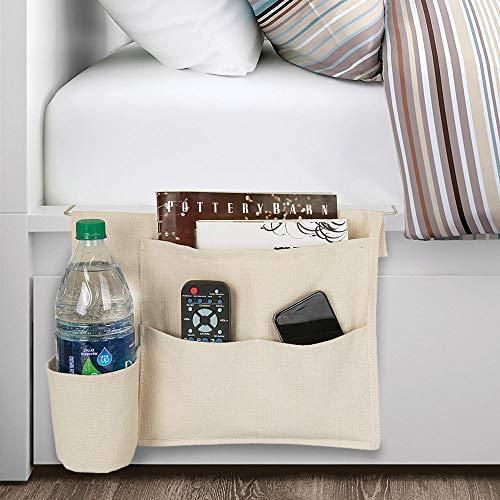 mDesign Bedside Storage Organizer Caddy Pocket - Slim Space Saving Design, 4 Pockets - Heavy Cotton Canvas - Holds Water Bottles, Books, Magazines - Cream/Wire Insert in Satin