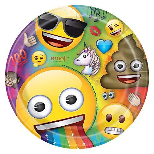 Unique Party - Platos de Papel - 23 cm - Diseño de Emoji Arcoíris - Paquete de 8 (79435)