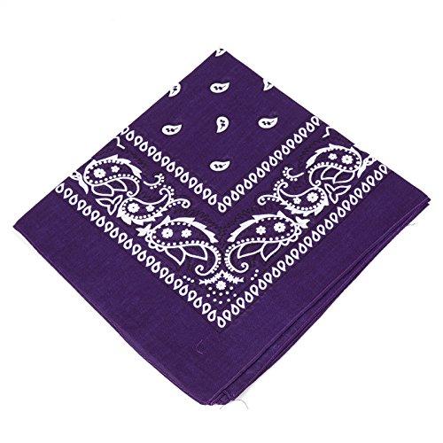 BOOLAVARD 1s, 6s, 9s or 12 Pack Cowboy Bandanas with Original Paisley Pattern (Dark Purple)