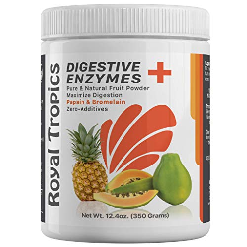 Pineapple Bromelain Digestive Enzyme Supplements in Powder Form by Royal Tropics - Vegetarian Weight Loss Control Formula with Green Papaya and Papain Acid Reducer for Perfect Gut Health 350 Grams