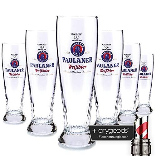 6 x Paulaner 0,3l Glas/Gläser, Markenglas, Schönsee, Bierglas NEU + anygoods Flaschenausgiesser