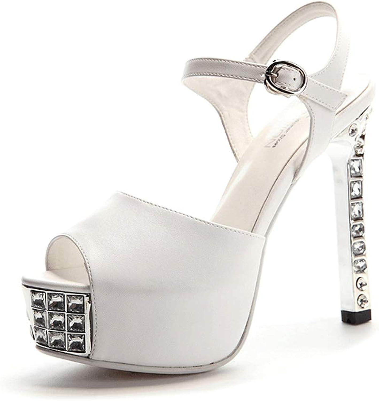 Pli Fischmaul Wort Schnalle Sandalen Damen Sommer High Heels A ++ (Farbe   Weiß, Größe   38donglu)