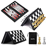 QuadPro 3 in 1 Magnetic Checkers Chess Backgammon Board Game Set with Folding Board Travel Games for Kids and Adults
