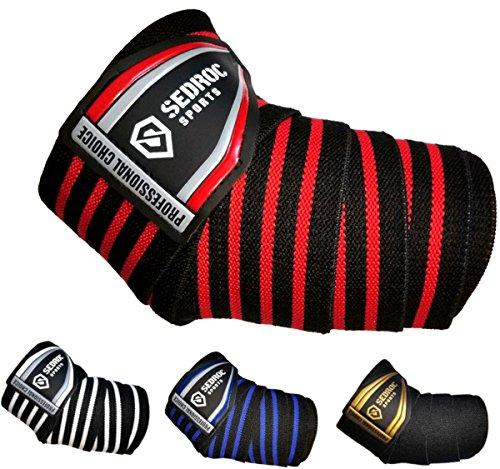 Sedroc Sports Professionelle Gewichtheber-Bandagen für Powerlifting, 1 Paar (schwarz/rot)