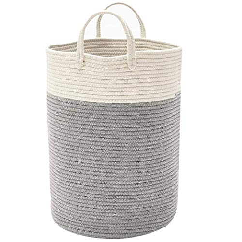 DOKEHOM X-Large Storage Baskets -15.7(D) x 19.7(H) Inches- Cotton Rope Basket Woven Baby Laundry Basket with Handle for Diaper Toy (White/Grey)