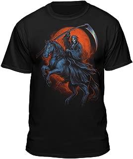 Grim Reaper Horse Death Rider Scythe Men's Skull T-Shirt