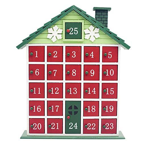 1pc Madera de Navidad Cuenta atrás Calendario de Navidad Decoración for el hogar Almacenamiento Caja de Color Cottage Calendario de Adviento (Color : Green, Size : M)