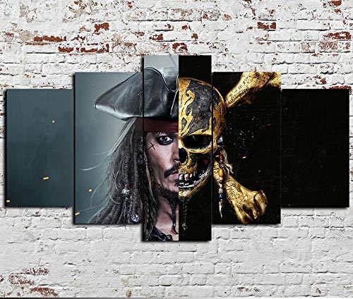 Cuadro En Lienzo, Imagen Impresión, Pintura Decoración, Cuadro Moderno En Lienzo 5 Piezas Xxl,125X60Cm,Piratas Del Caribe: Skull Movie Murales Pared Hogar Decor