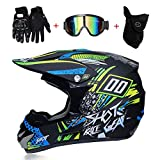 LTongx Motos Motocross Cascos y Guantes y Gafas estándar para niños ATV Quad Bicicleta go Casco de Kart,D,M(54~55cm)