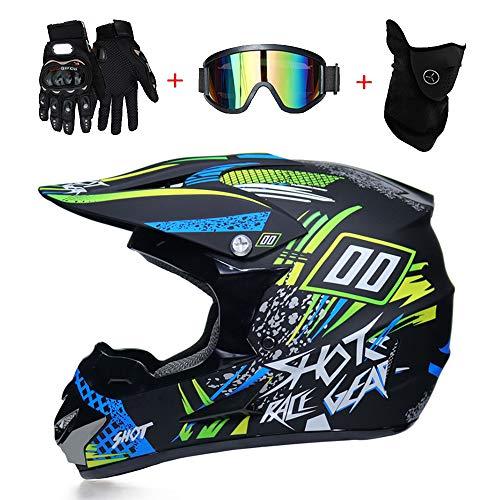 LTongx Motos Motocross Cascos y Guantes y Gafas estándar para niños ATV Quad Bicicleta go Casco de Kart,D,S(52~53cm)