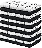 Utopia Towels Kitchen Towels, 15 x 25 Inches, 100% Ring Spun Cotton Super Soft and Absorbent Black Dish Towels, Tea Towels and Bar Towels, (Pack of 12)