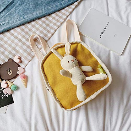 L-sister Bolsa de niños Simple Conejo Modesto Mochila Marea niños y niñas Bebé Baby Godforsaken Bolso de Estudiante Mini Mochilas para niñas Estilo único (Color : Yellow, Size : XL)