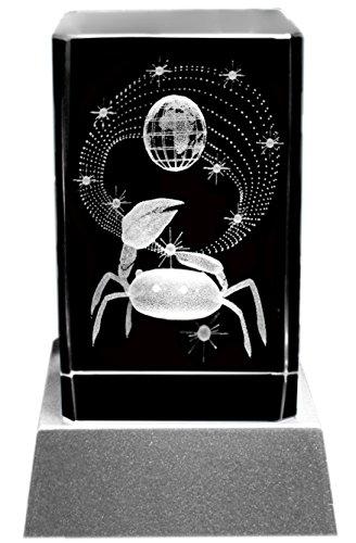 Kaltner Präsente Stimmungslicht - Das perfekte Geschenk: LED Kerze/Kristall Glasblock / 3D-Laser-Gravur Sternzeichen Krebs