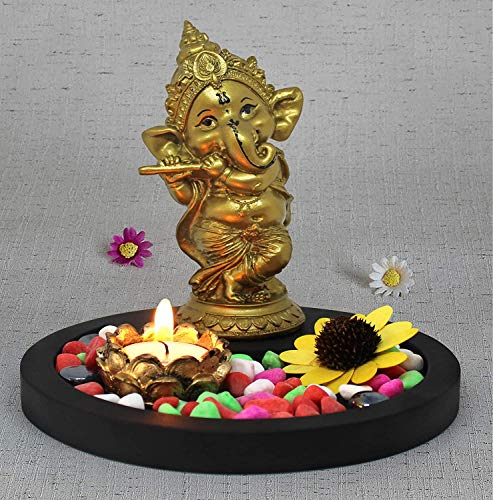 Zed Blue Tied Ribbons Ganesha Statue Playing Bansuri with with Wooden Flower Tealight Candle Colorful Stones and Wooden Base - Ganesh Idols for Home Decor - Statue Decoration Items for Living Room