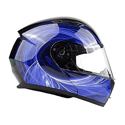 Typhoon TH158 Modular Motorcycle Helmet DOT Dual Visor Full Face Flip-up - Blue Large