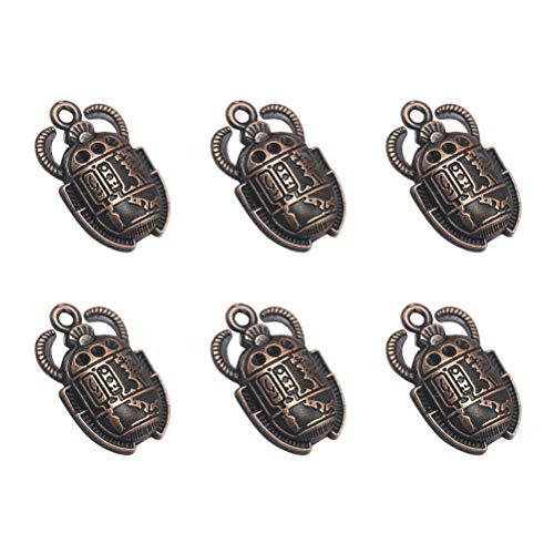 FENICAL 20pcs encantos del colgante del escarabajo egipcio de la vendimia DIY joyería que hace los accesorios para la pulsera del collar (rojo de cobre)