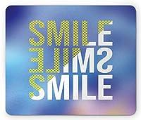 笑顔の長方形のマウスパッド、さまざまなデザインのモダンなビッグポジティブレタリング、滑り止めラバーバッキングマウスパッド、紺碧の淡いスカイブルーイエローパステルブラウン
