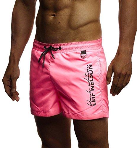 Leif Nelson Herren Sommer Badehosen Badeshorts Schwimmhose Schwimmshorts Beachshorts Strand Shorts Kurze Hosen Freizeithosen Jogginghose Cargo Hose Bermuda Chino LN9215; Medium; Pink