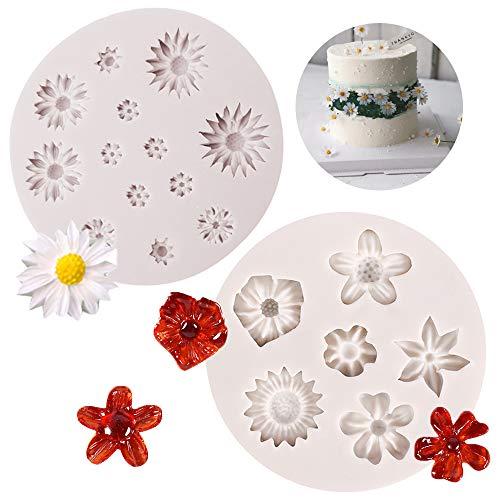 Ziyero Flower Fondant Mold DIY Mini Kuchenform 3D Blumen Silikon Form Silikon in Lebensmittelqualität, Weich, Haltbar, Leicht Reinigen, für Machen Kuchen, Schokolade, Biscuit, Eiswürfel usw (Hellgrau)
