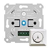 Gobesty Interruptor Regulador de Luz, LED Regulador de Intensidad de luz LED Atenuador Interruptor regulador intensidad para lamparas led, empotrado para LED regulables y halógenos de 2 a 200 W