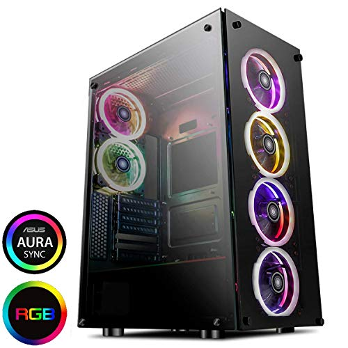 GameMax PREDATOR Full-Tower RGB PC Gaming Case, ATX, Full Tempered Glass Side Window, Zwart