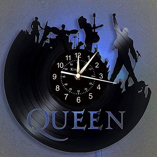 Shhao The Queen Rock Music Band Orologio da parete in vinile, LED 7 colori notte lampada retrò orologio da parete, soggiorno, cucina, regali unici fatti a mano per la casa (con luce)