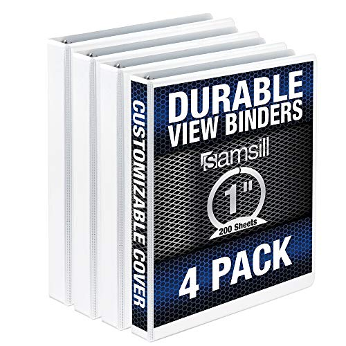 Samsill Durable 3 Ring View Binders, 1 Inch Round Ring - Holds 225 Sheets, PVC-Free / Non-Stick Customizable Cover, White , 4 Pack
