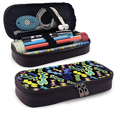 Lawenp Colored Graffiti Seamless Texture Vector Leather 3D Nano Printed Pencil Case Pouch Zippered Cute Pen Pencil Case Box School Supply for Students,Big Capacity Stationery Box for Girls Boys and