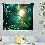 Dschungel Regenwald Blätter Wandteppich Wandbehang Natur Landschaft Tuch Wandtuch Tapestry Tapisserie Wanddeko für Schlafzimmer Strandtuch Tischdecke Grün 230x150cm