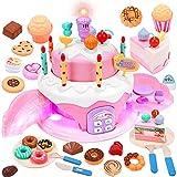 Toyssa Pastel de Cumpleaños de Juguetes Tartas Cumpleaños Juguete Juegos de Comida para Niños con Chocolate Donuts Galletas Vela Cubiertos de plástico Cocina Juguete Comida para Niños 3+Años